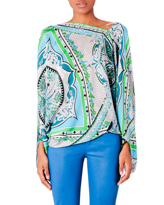 Printed Charmeuse Poncho Top