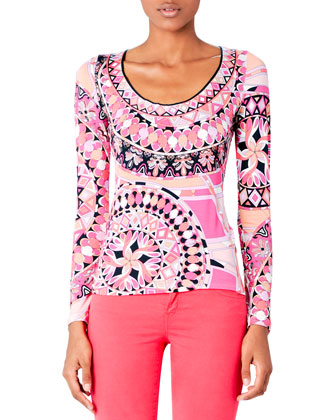 Printed Scoop-Neck Top & Zipper-Cuff Skinny Jeans