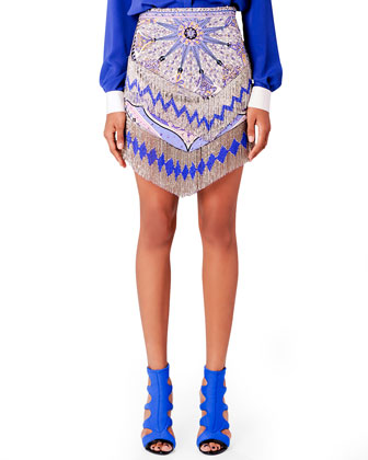Beaded Fringe Miniskirt