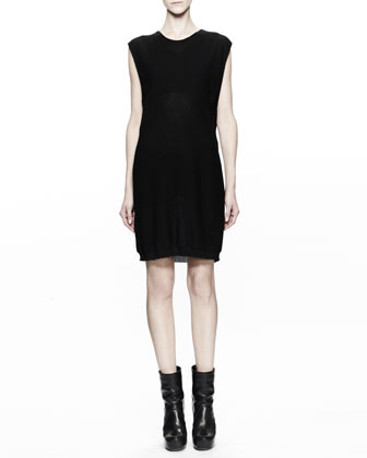Sleeveless Cotton Knit Tunic Dress, Black