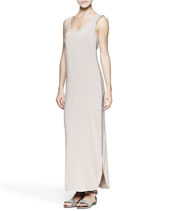 Monili-Trim Cotton/Silk Maxi Tank Dress