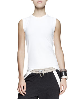 Monili-Collar Nubuck Vest, Sleeveless Cotton Top, Duchesse Midi Shorts, ...