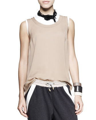 Sleeveless Cylinder Top, Fitted Cotton Top, Cropped Spa Pants, Necklace & ...
