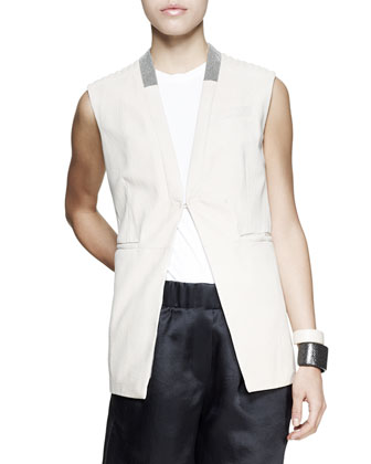 Monili-Collar Nubuck Vest