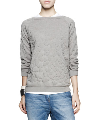 Flower-Embossed Pullover, Short-Sleeve Tee, Bias-Cut Jeans & Leather Cuff ...