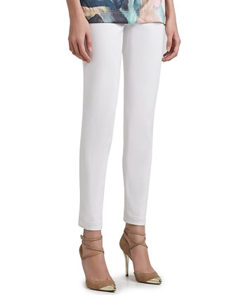 Stretch Poly Viscose Cropped Emma Pant with Pockets