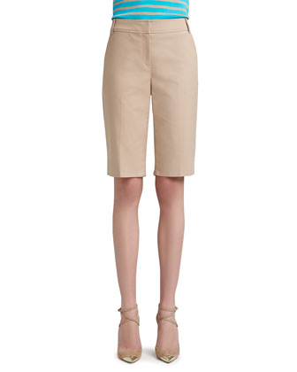 Doubleweave Stretch Cotton Bermuda Short with Pockets, Belt Loops and Side ...