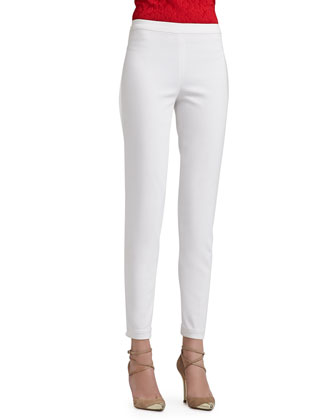 Soft Stretch Denim Leggings with Elastic Waistband and Back Leg Seam Detail ...