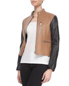Zip-Up Leather Moto Jacket, Truffle