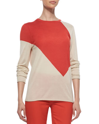Crewneck Colorblock Sweater, Red/Chamois