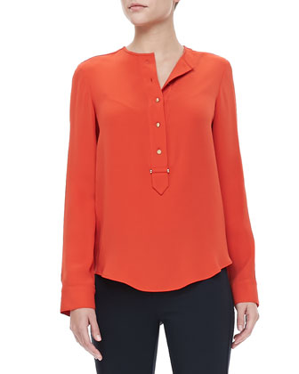 Button-Placket Blouse, Citrus Red