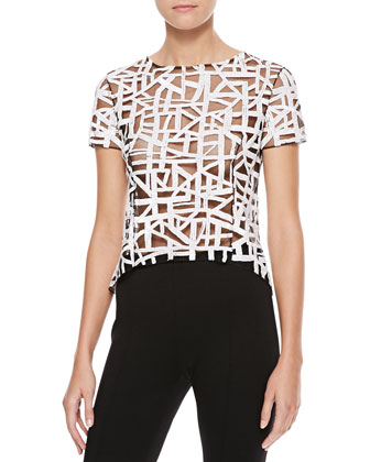 Sheer Lattice-Sequined Blouse, Black