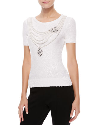 Faux Pearl-Embroidered Knit Top, White