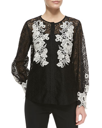Long-Sleeve Floral Embroidered Blouse