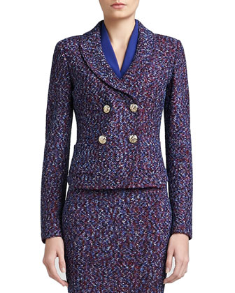 Looped Lash Tweed Knit Double Breasted Dip Front Jacket with Shawl Collar ...