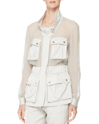 Sheer-Panel Crepe Utility Jacket & Belted Shorts