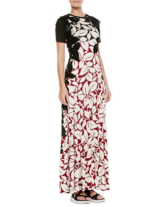 Long T-Shirt Dress with Floral Appliques