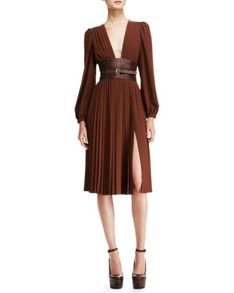 Pleated Dress with Embossed Belt