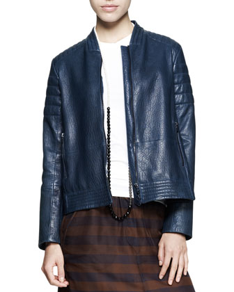 Leather Swing Biker Jacket, Fitted Sleeveless Cotton Top, Sheer ...
