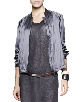 Satin Zip Jacket, Monili-Side Dress, Bias-Cut Jeans, Leather Belt & Cuffs