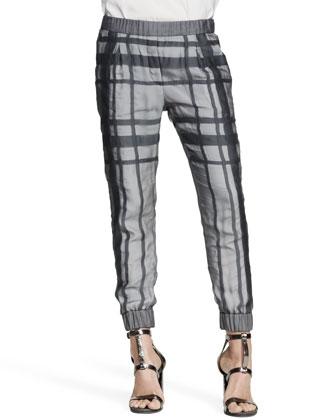 Silk Tartan Cuffed Pants