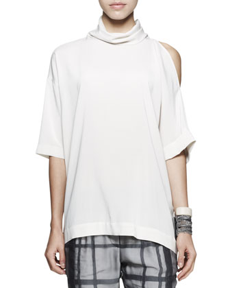 Cutout-Shoulder Silk Top