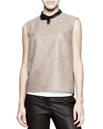 Sleeveless Sequin-Front Top