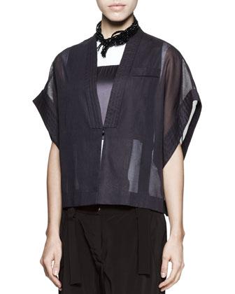 Cotton-Organza Kimono Jacket