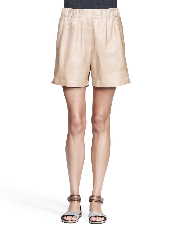 Womens Nappa Leather Midi Shorts   Brunello Cucinelli   Biscotti (46/10)