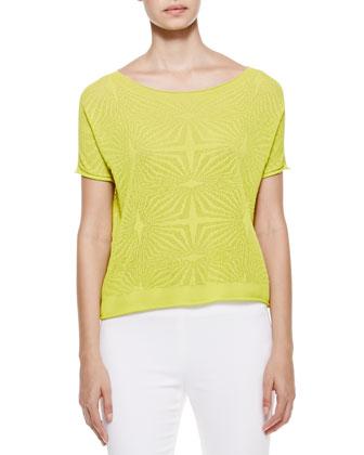 Short Sleeve Jacquard Blouse, Chartreuse