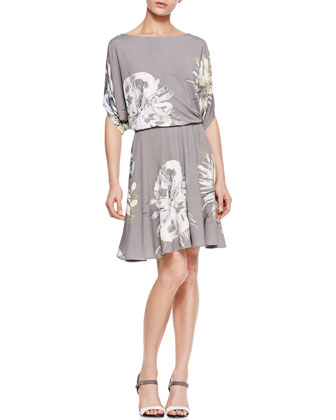 Gathered-Waist Printed Jersey Dress, Taupe/Multi