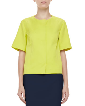 Short-Sleeve Snap-Front Jacquard Jacket, Chartreuse