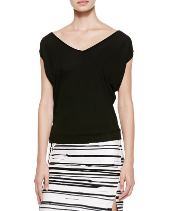 V-Neck Banded-Hem Tee & Striped Side-Zip Pencil Skirt