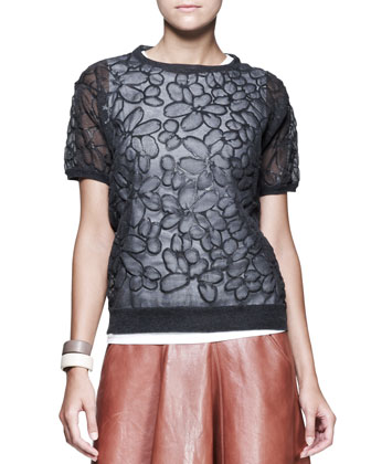 Flower-Embossed Chiffon Top