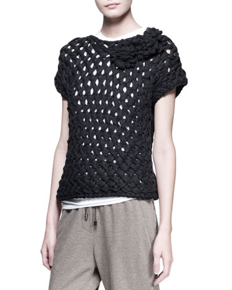 Woven Flower Pullover, Sleeveless Top, Monili-Stripe Sweatpants & Leather Cuffs