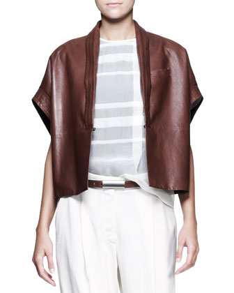 Leather Kimono-Sleeve Jacket