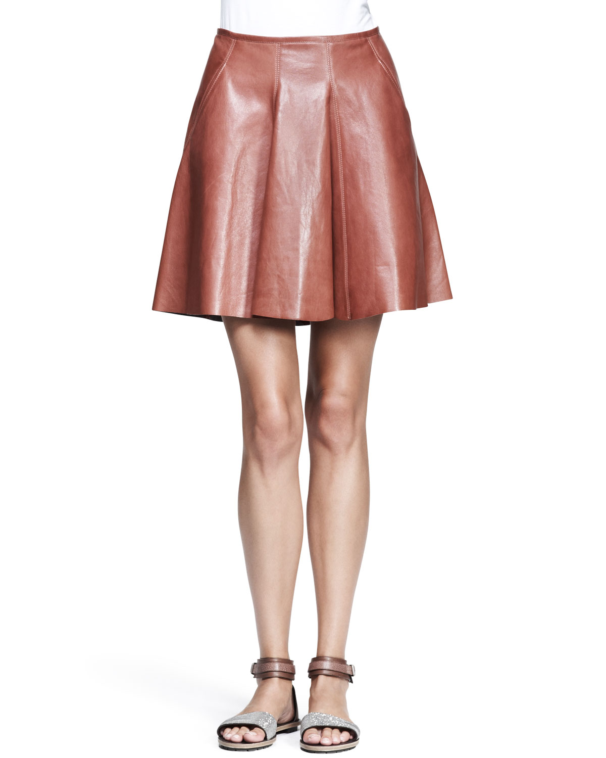 Womens Shiny Leather Swing Skirt   Brunello Cucinelli   Red (44/8)