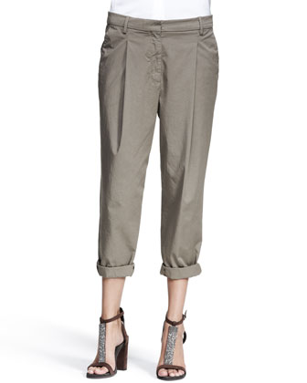 Slouchy Single-Pleat Pants