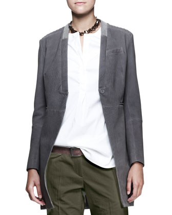 Monili-Collar Suede Jacket