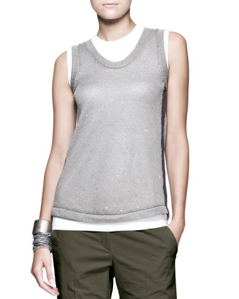 Sleeveless Paillette Knit Top