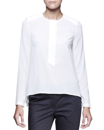 Long-Sleeve Half-Placket Shirt