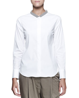 Buttoned Monili-Collar Blouse