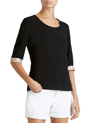 3/4-Sleeve Check-Cuff Scoop Tee, Black