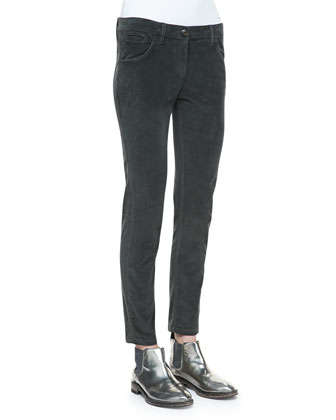 Slim Velour Trousers, Forest