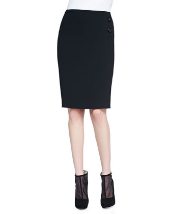 -Buttoned Pencil Skirt, Black
