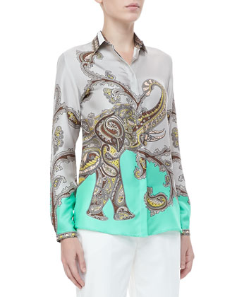 Paisley-Elephant Blouse & Front-Closure Ankle Pants