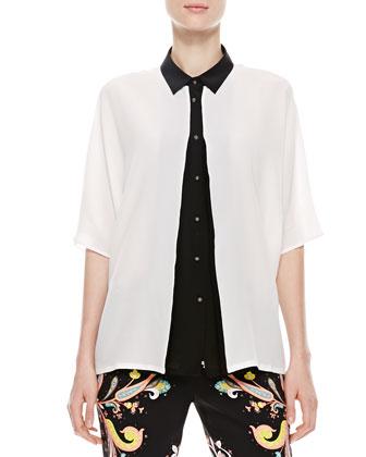 Kimono Top, White/Black