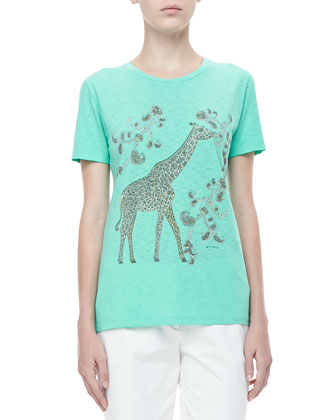 Giraffe Short-Sleeve Cotton Tee, Olive