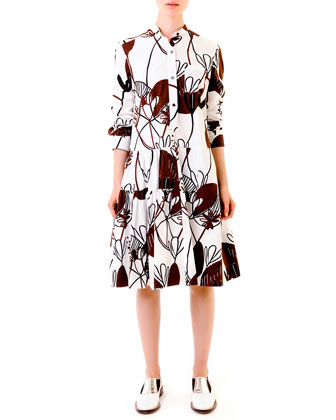 Woodcut Lily-Print Poplin Dress, White/Burgundy