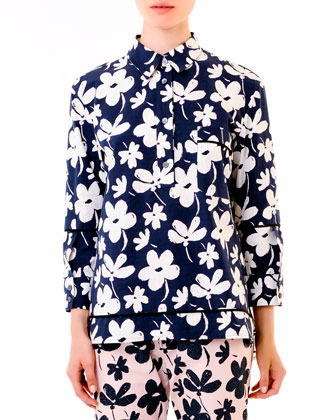 Floral High-Low Hem Cotton Tunic, Pink/Navy